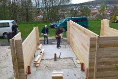 Aufbau der Wände der linken Garage